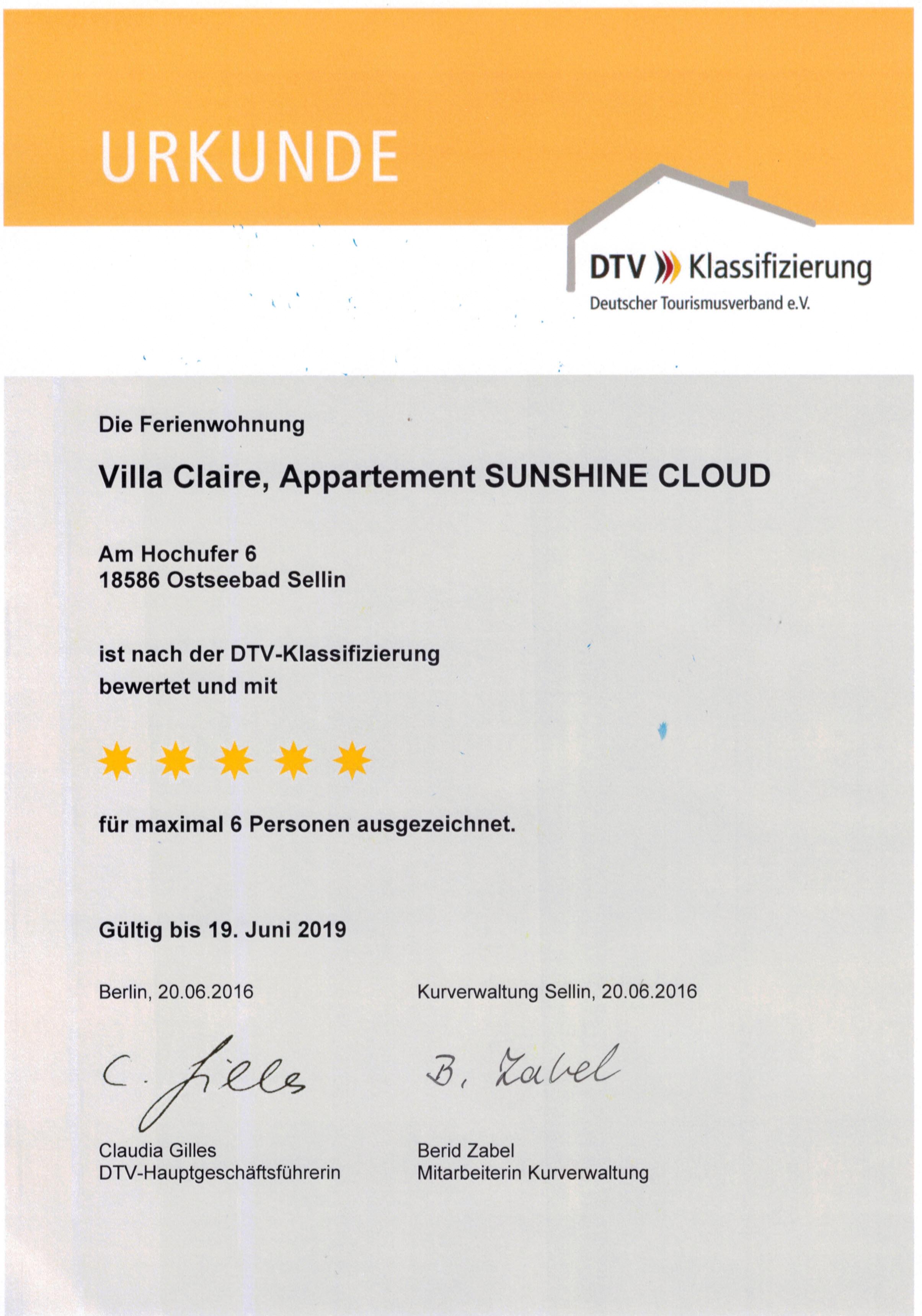 Villa Claire - Luxus-Appartement SUNSHINE CLOUD***** - direkte Strandlage, Sellin