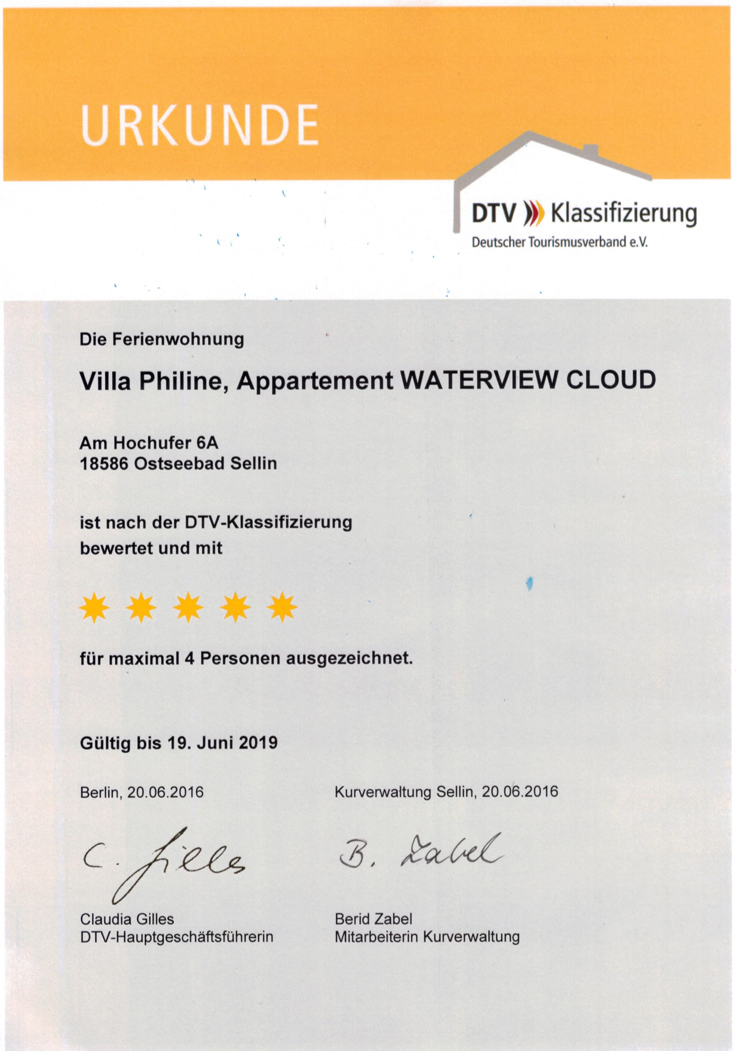 ***** Villa Philine Appartement WATERVIEW CLOUD